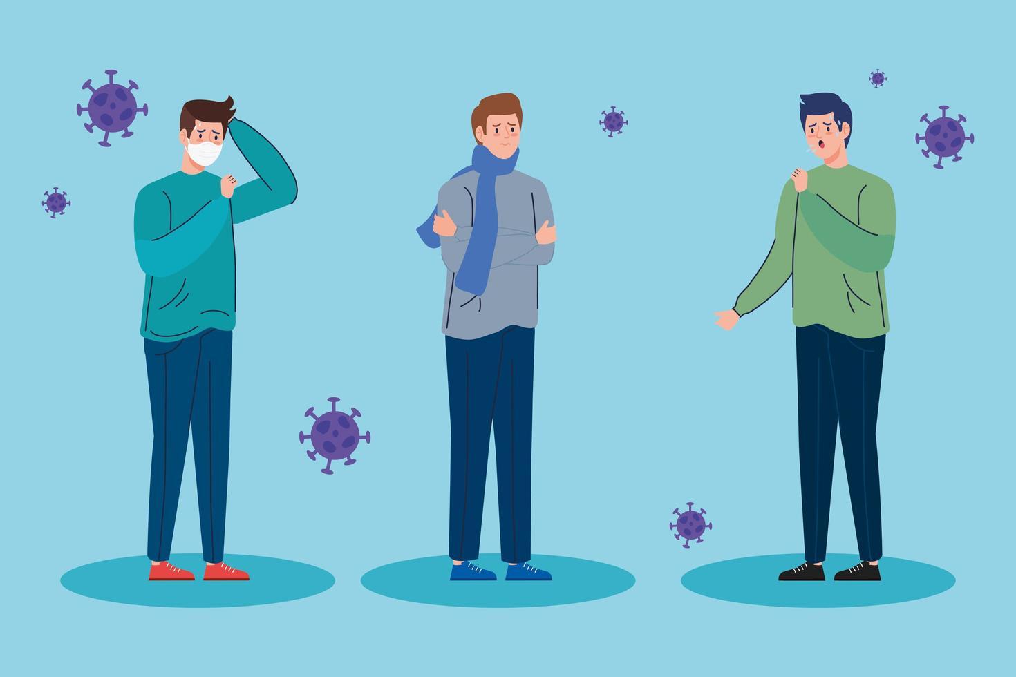 mannen met symptomen van het coronavirus vector