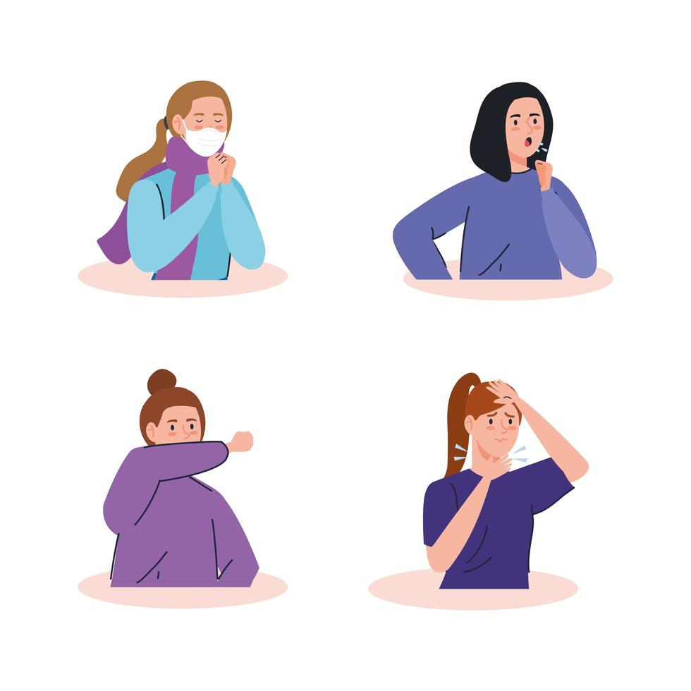 vrouwen met symptomen van het coronavirus vector
