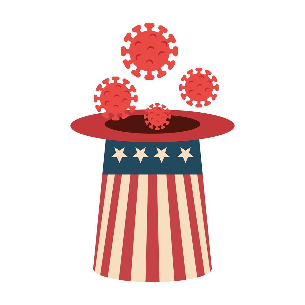 campagne voor preventie van hoge hoeden en coronavirus in de VS. vector