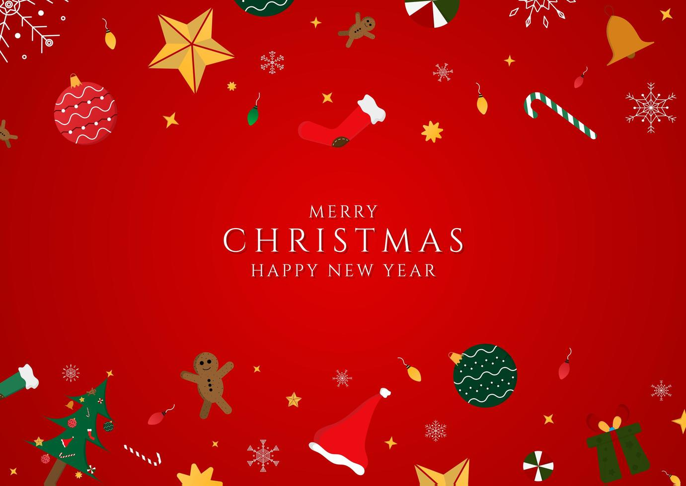 kerstdag gelukkig nieuwjaar rode achtergrond vector