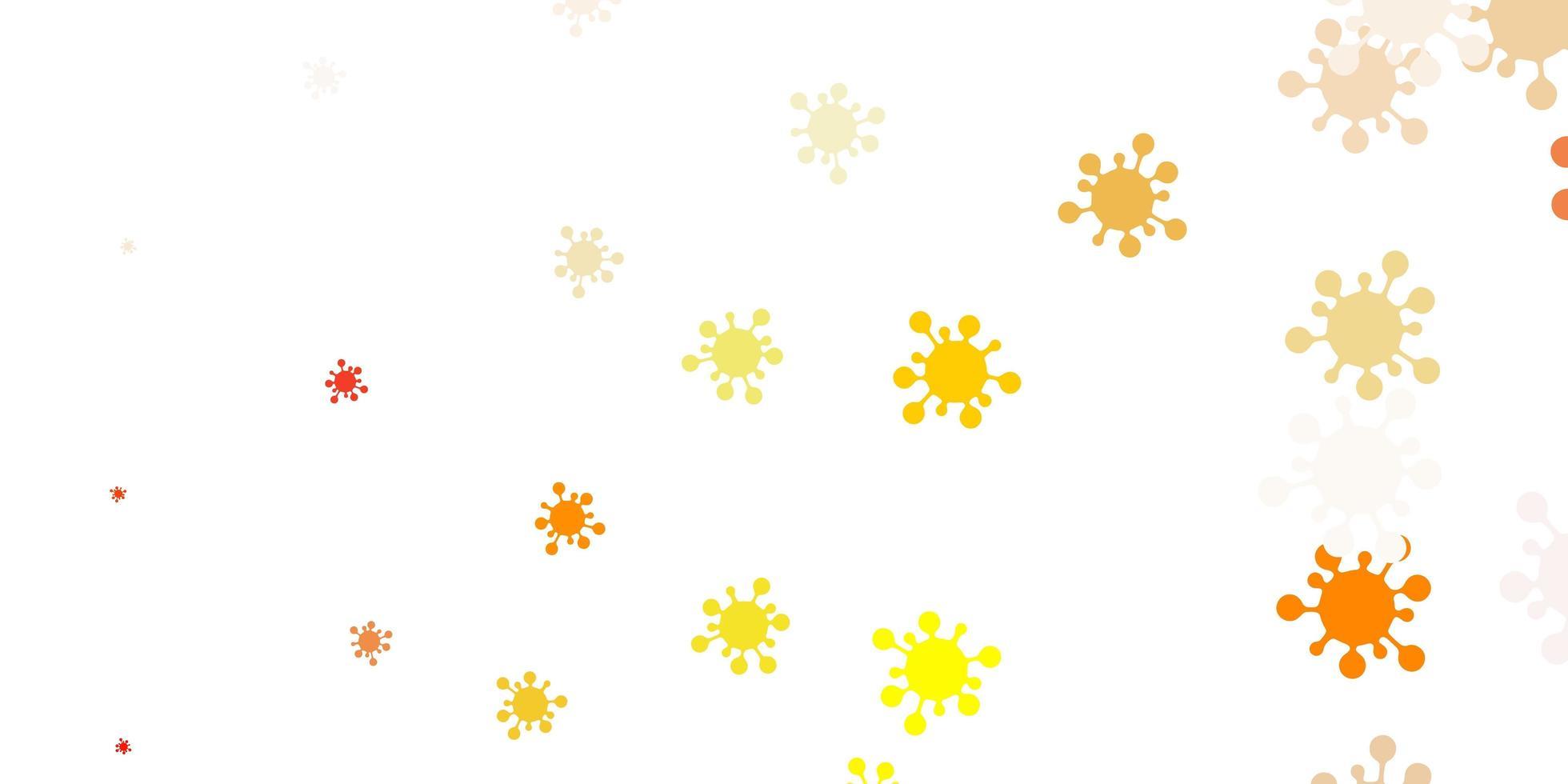 lichtoranje vectorpatroon met coronaviruselementen. vector
