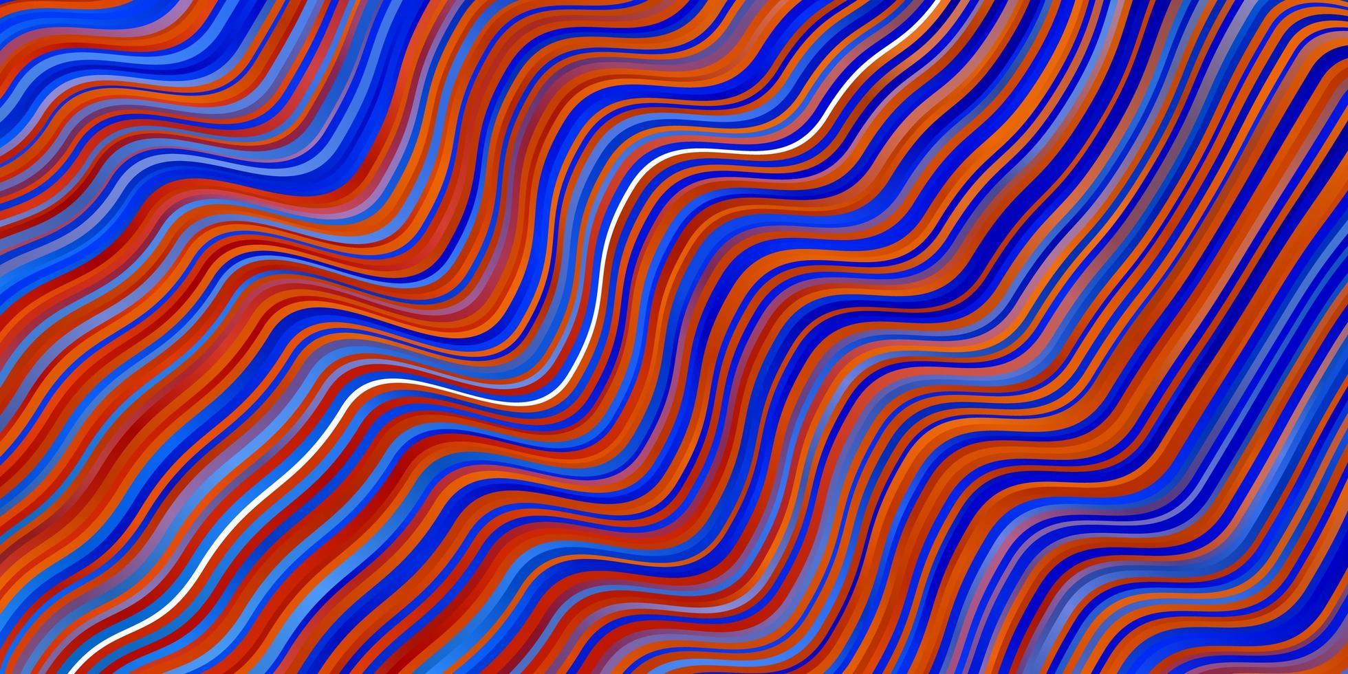 lichtblauwe, rode vectorachtergrond met krommen. vector