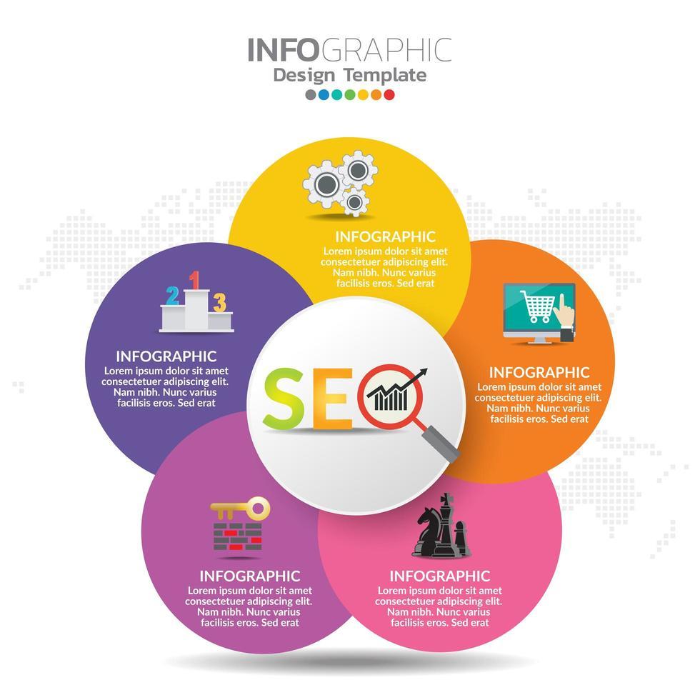 infographic concept illustratie van seo infographics met business layout template. vector
