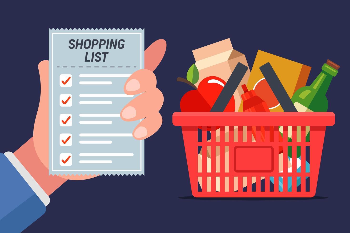 kruidenierswinkelkaart vol met eten met lijst met handjes vector