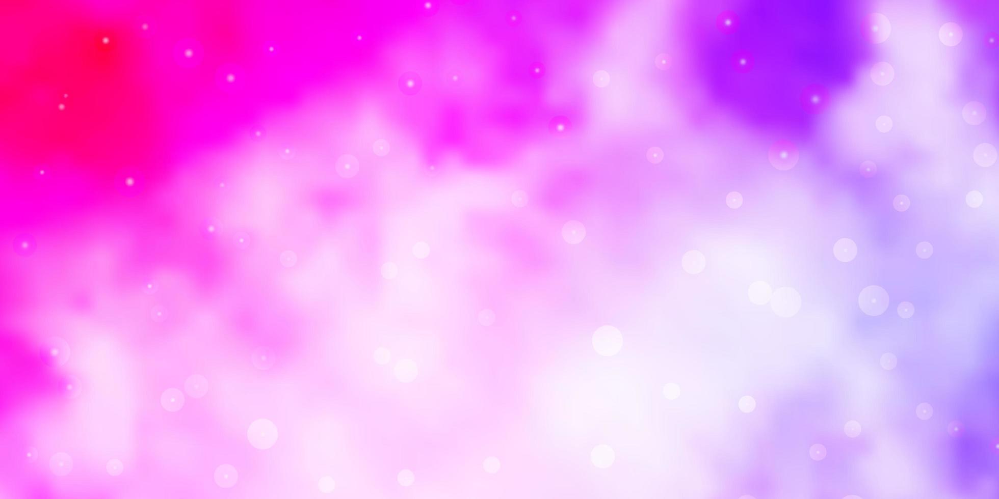 lichtpaarse, roze vectorachtergrond met kleine en grote sterren. vector