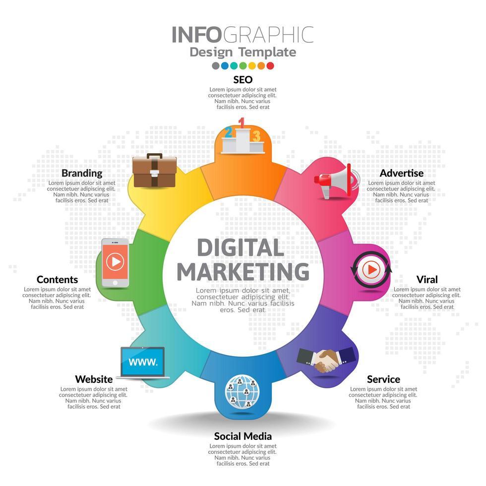 infographic sjabloon met digitale marketing pictogrammen concept. vector