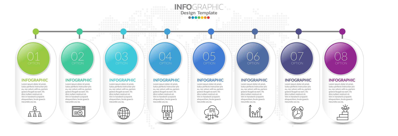 tijdlijn infographics met stap- en marketingpictogrammen vector