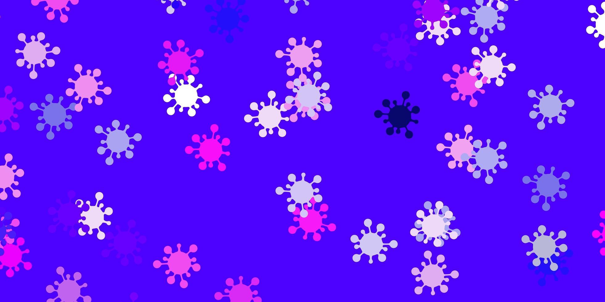lichtpaarse, roze vectorachtergrond met virussymbolen. vector