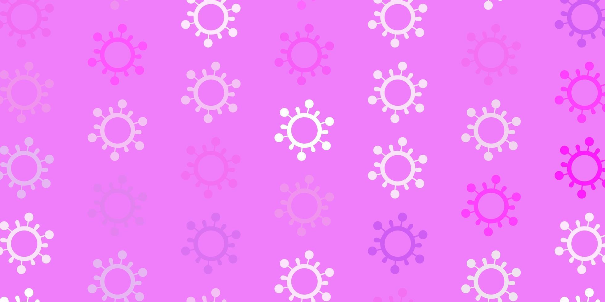 lichtpaars vectorpatroon met coronaviruselementen. vector