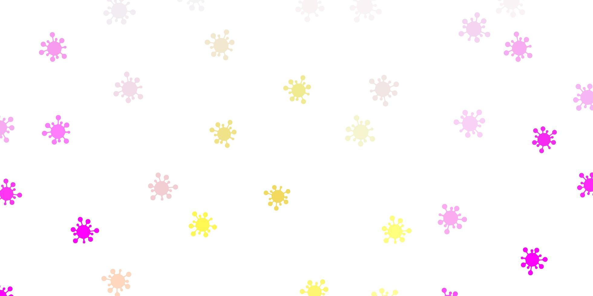 lichtroze, gele vectorachtergrond met virussymbolen vector
