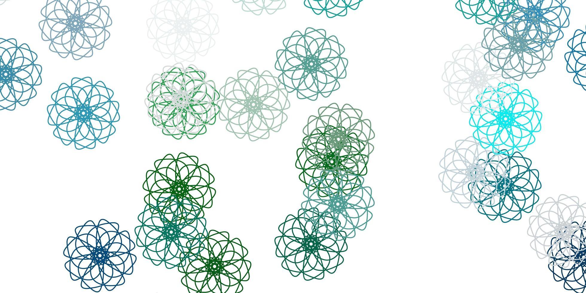 lichtblauw, groen vector doodle sjabloon met bloemen.