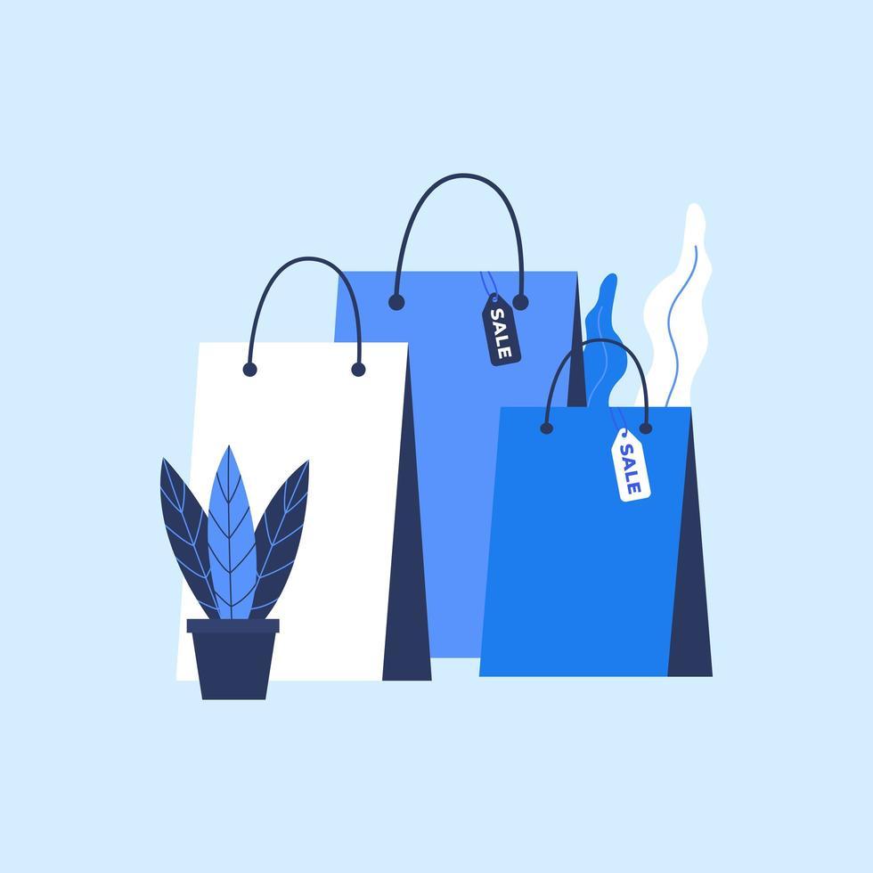 boodschappentas met verkooplabel in vlakke stijl vector