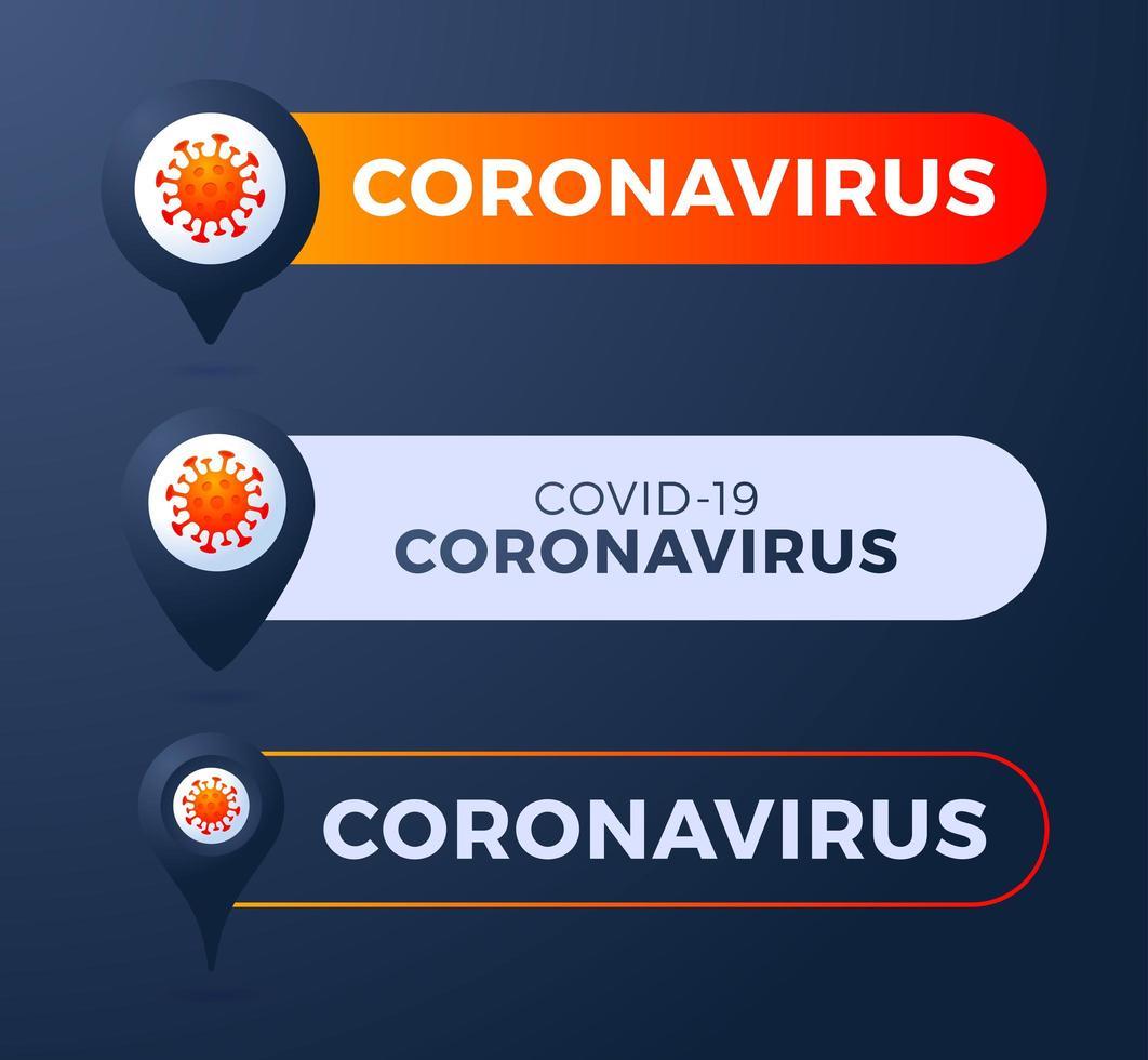 pin met coronavirus vectorillustratie instellen vector