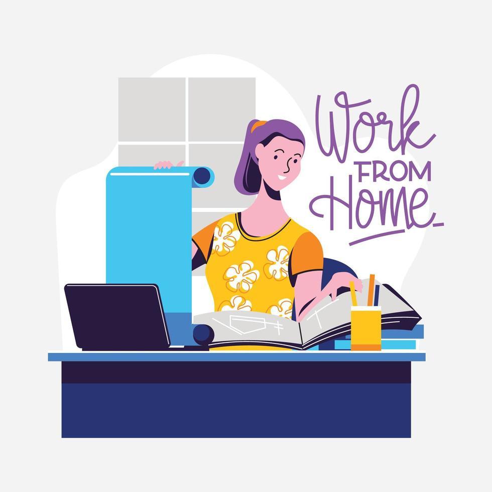 werk vanuit huis tijdens covid-19 vector