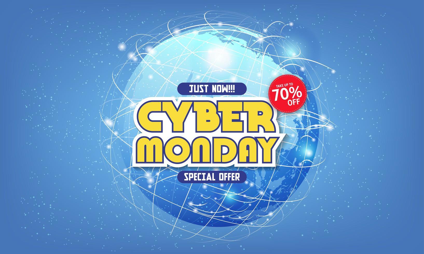 moderne cyber maandag banner met plat ontwerp vector