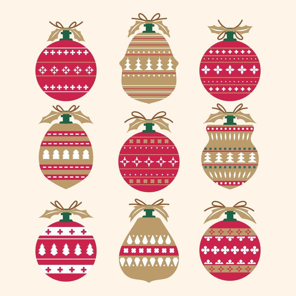 set kerstballen decoraties vector