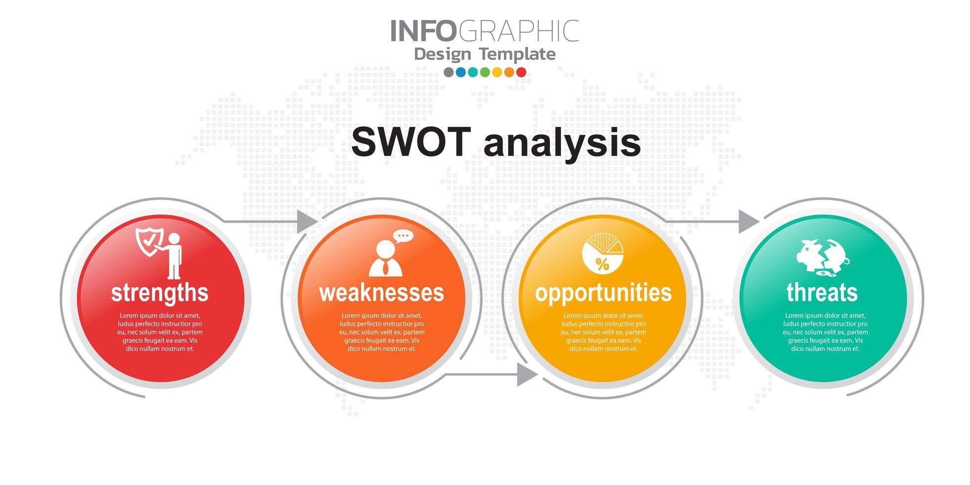 vier kleurrijke elementen met pictogrammen en plaats voor tekst in concept van SWOT-analyse. vector