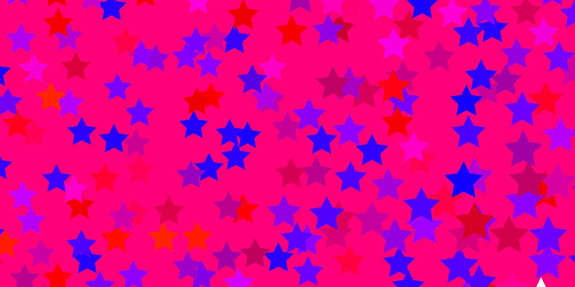 lichtblauw, rood vectormalplaatje met neonsterren. vector