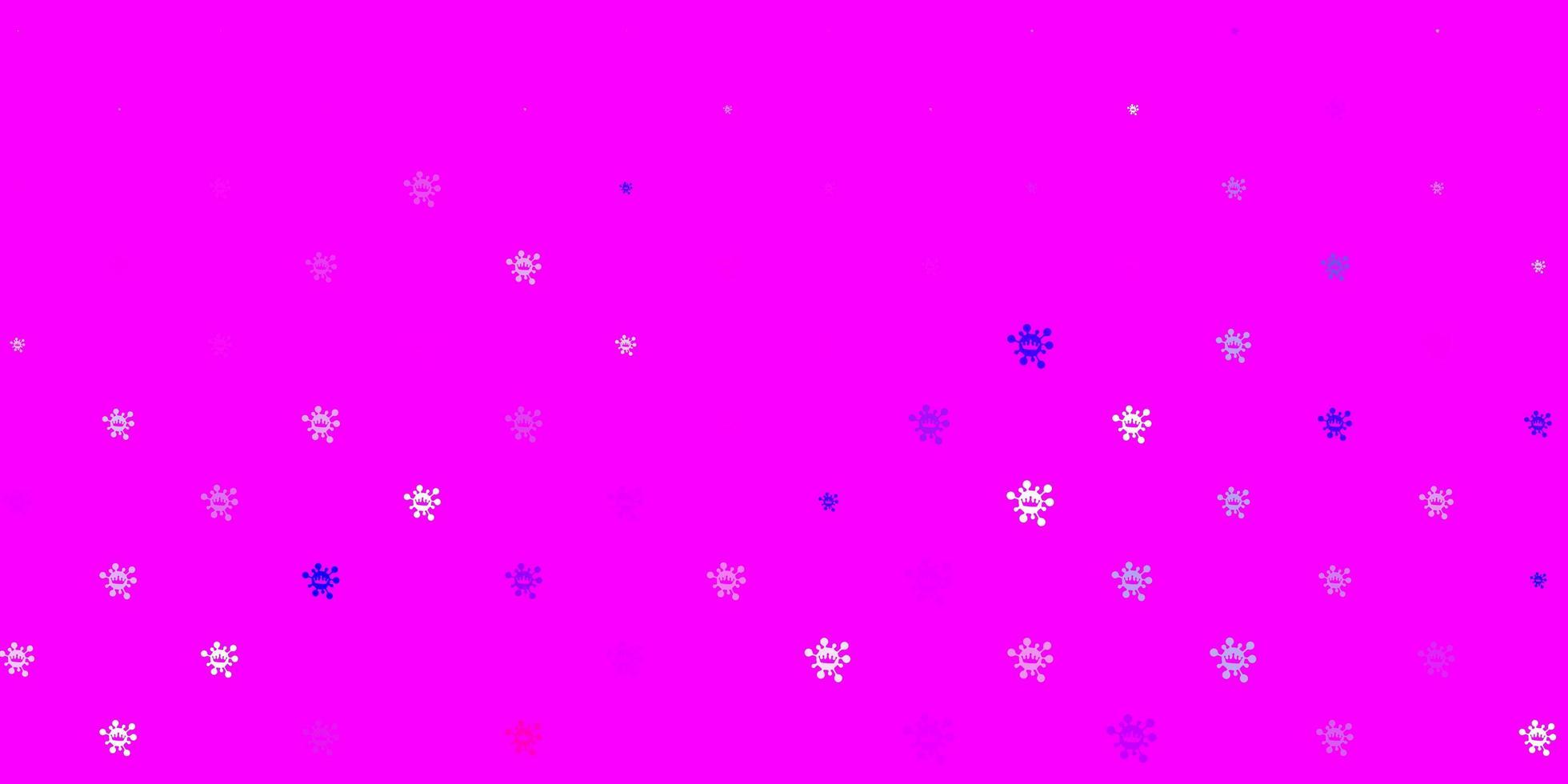 lichtpaars, roze vectorpatroon met coronaviruselementen vector