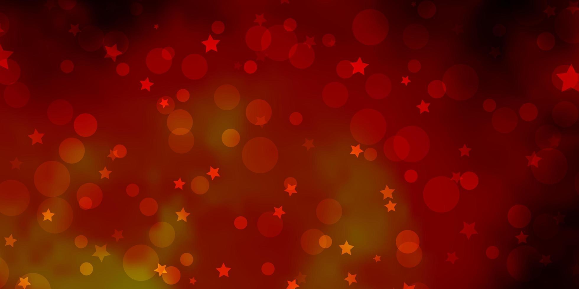 donkeroranje vectorpatroon met cirkels, sterren. vector