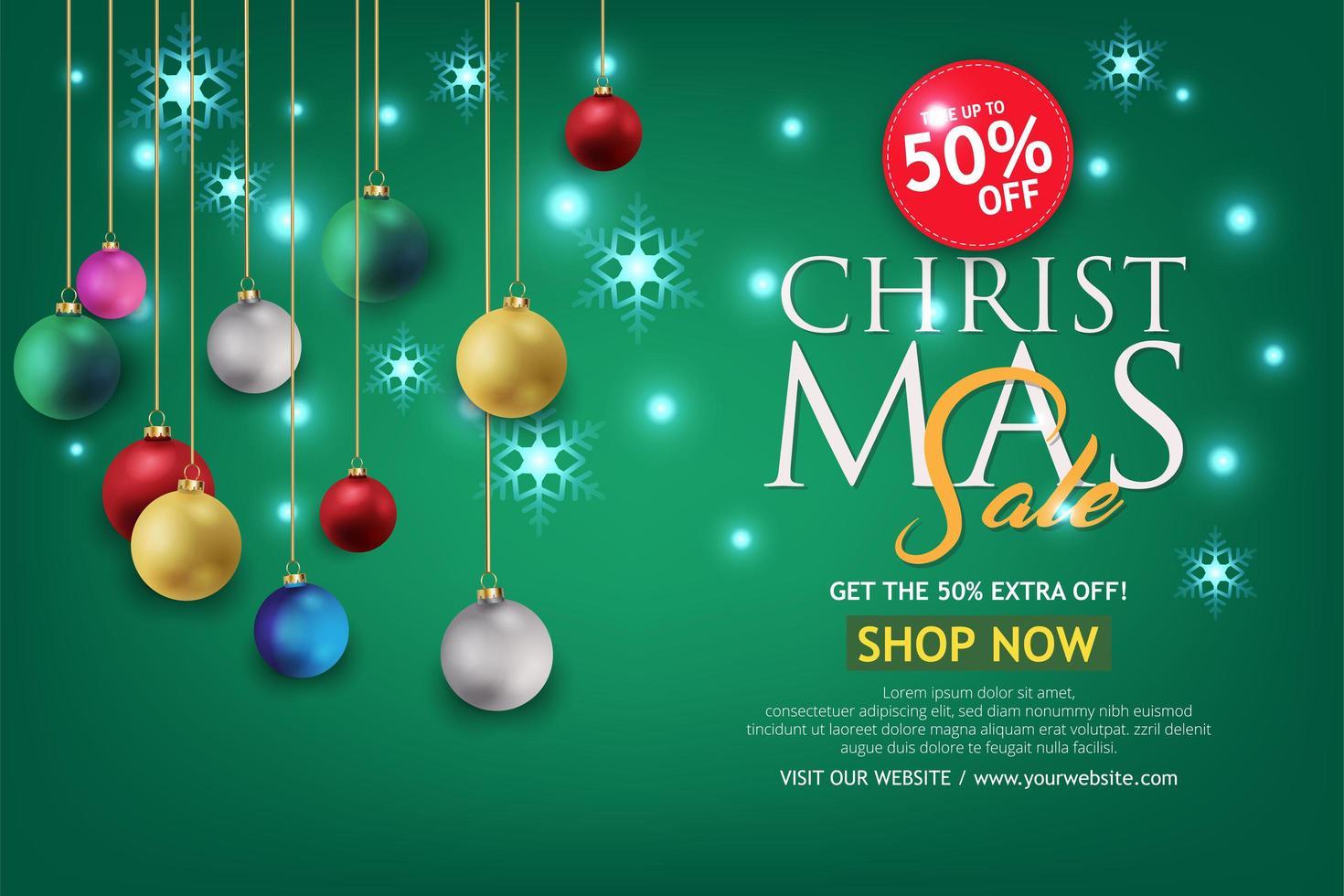 kerst verkoop banner op groene achtergrond. tekst merry christmas shop nu. vector