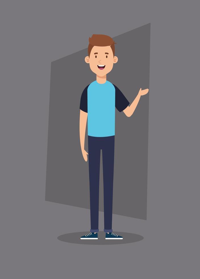 jonge man avatar karakter pictogram vector
