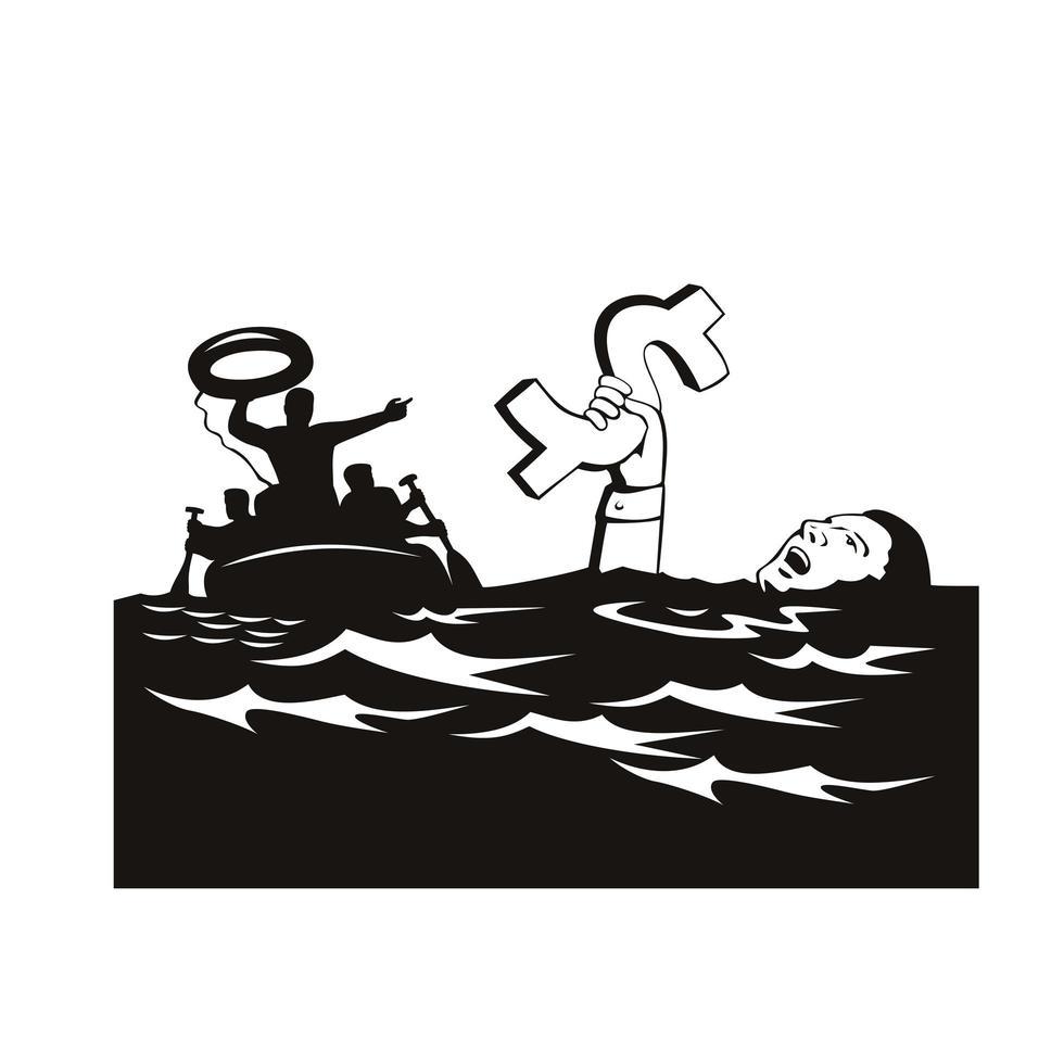 man verdrinken met schuld dollar wordt gered vector