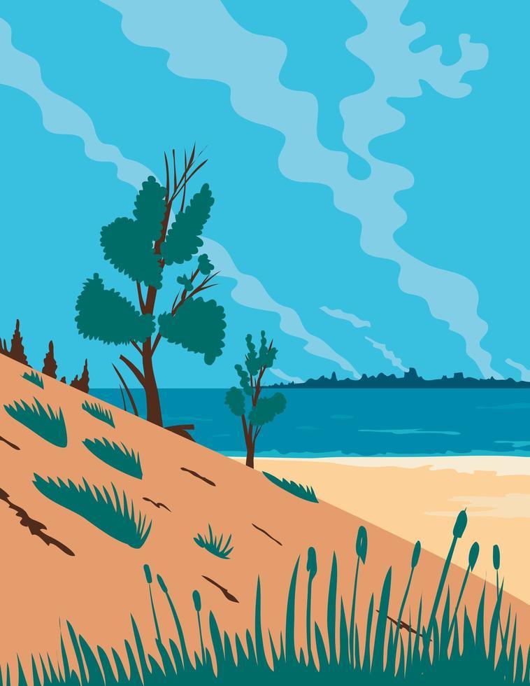 duinen in Indiana kleurenposter vector