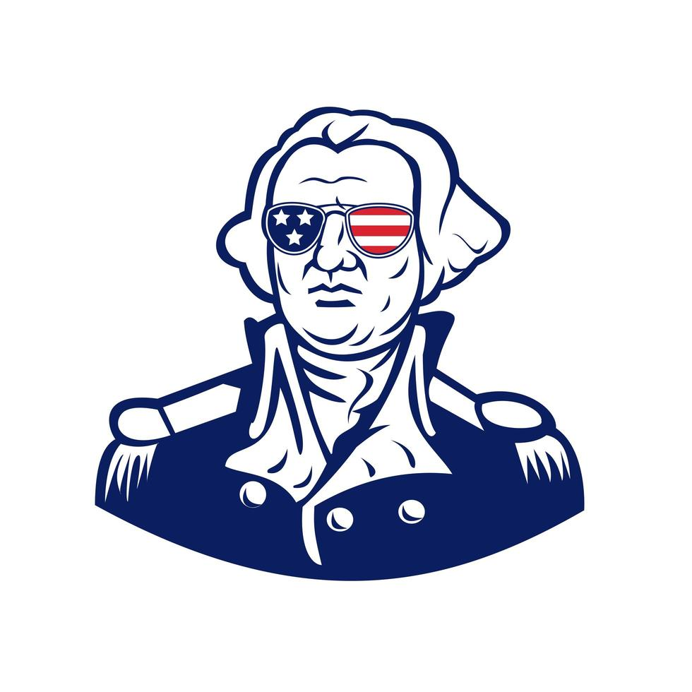 Washington draagt de mascotte van de de vlagzonnebril van de VS. vector