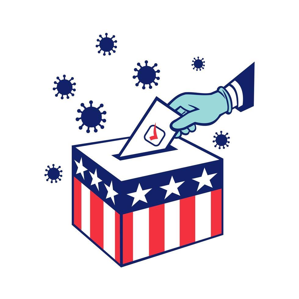 Amerikaanse kiezer stemmen tijdens pandemische lockdown-verkiezing vector