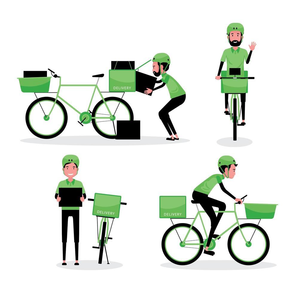 man bezorgt pakket met fiets vector