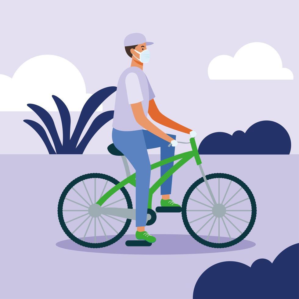 man met medisch masker op fiets vector ontwerp