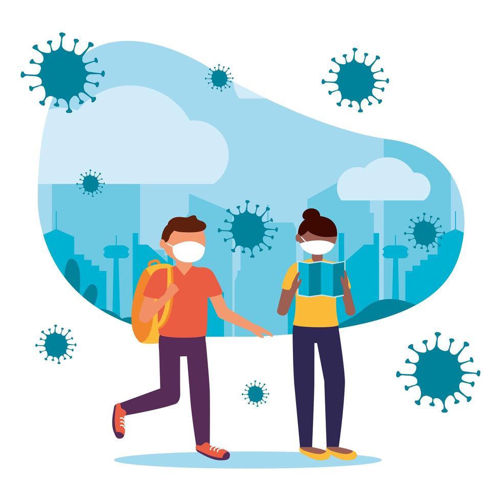vrouw en man met masker bij stads vectorontwerp vector