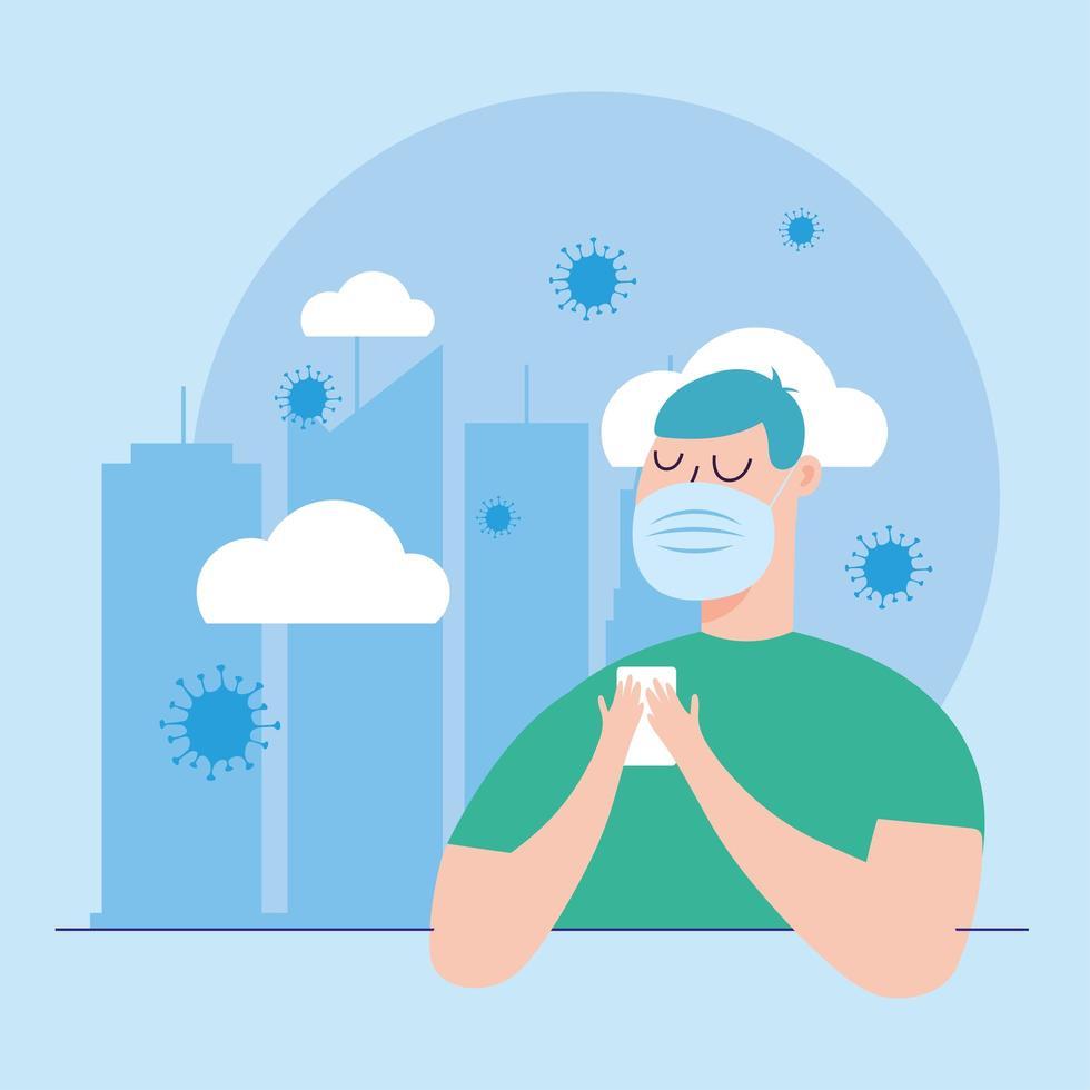 man met masker in stad vector design