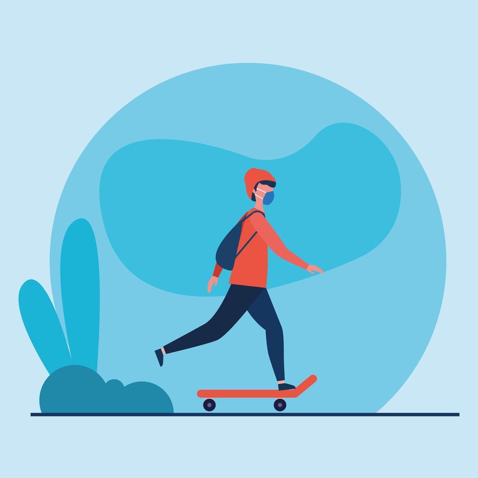 man met medisch masker op skateboard vector ontwerp