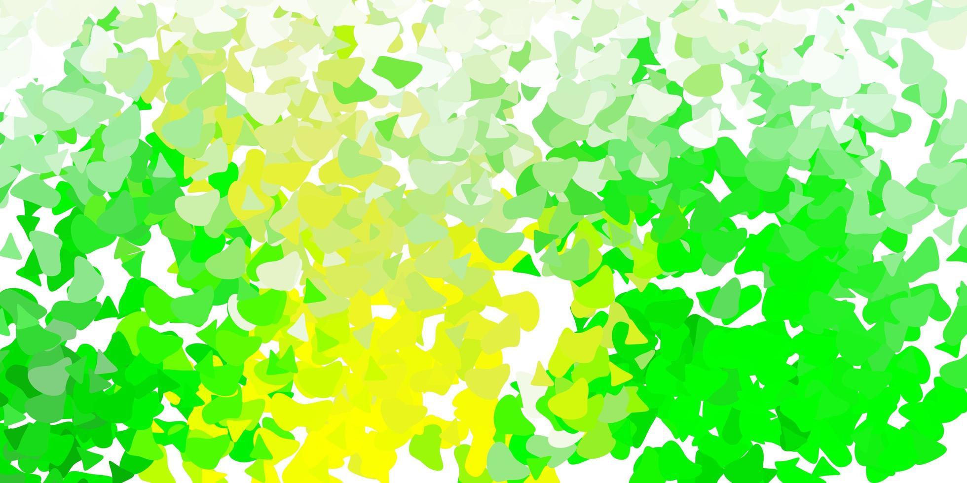 lichtgroene, gele vectortextuur met Memphis-vormen. vector