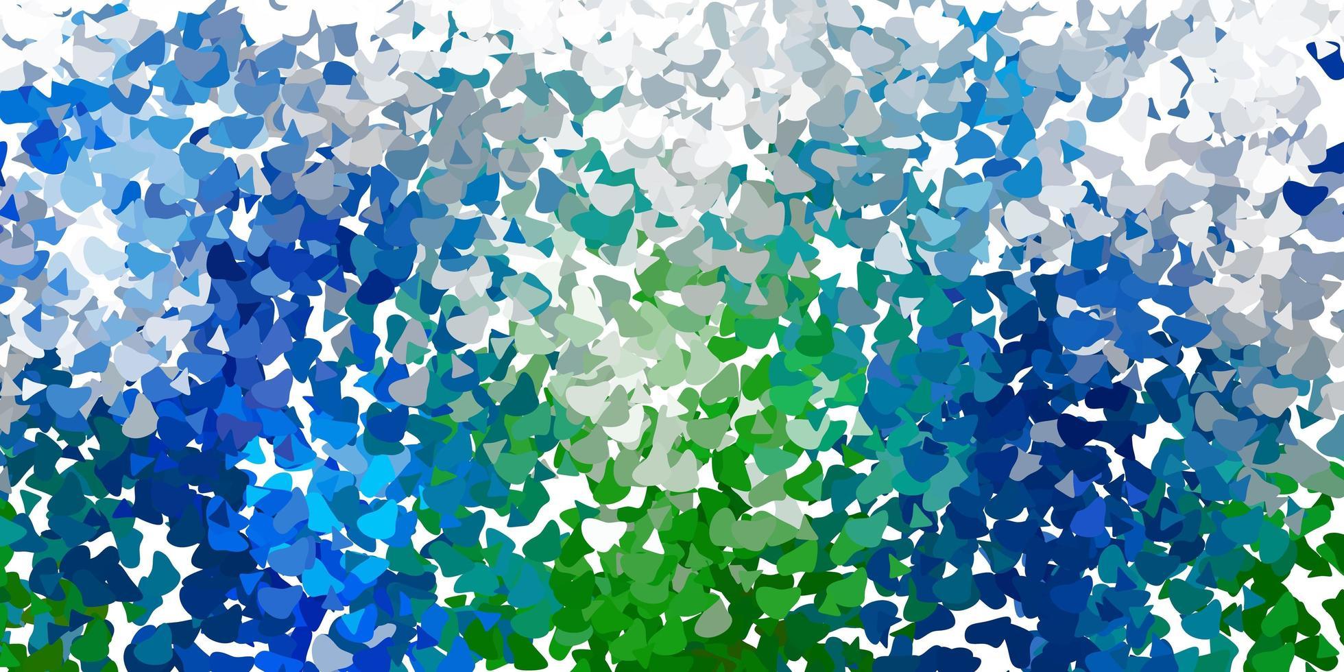 lichtblauwe, groene vectorachtergrond met chaotische vormen. vector