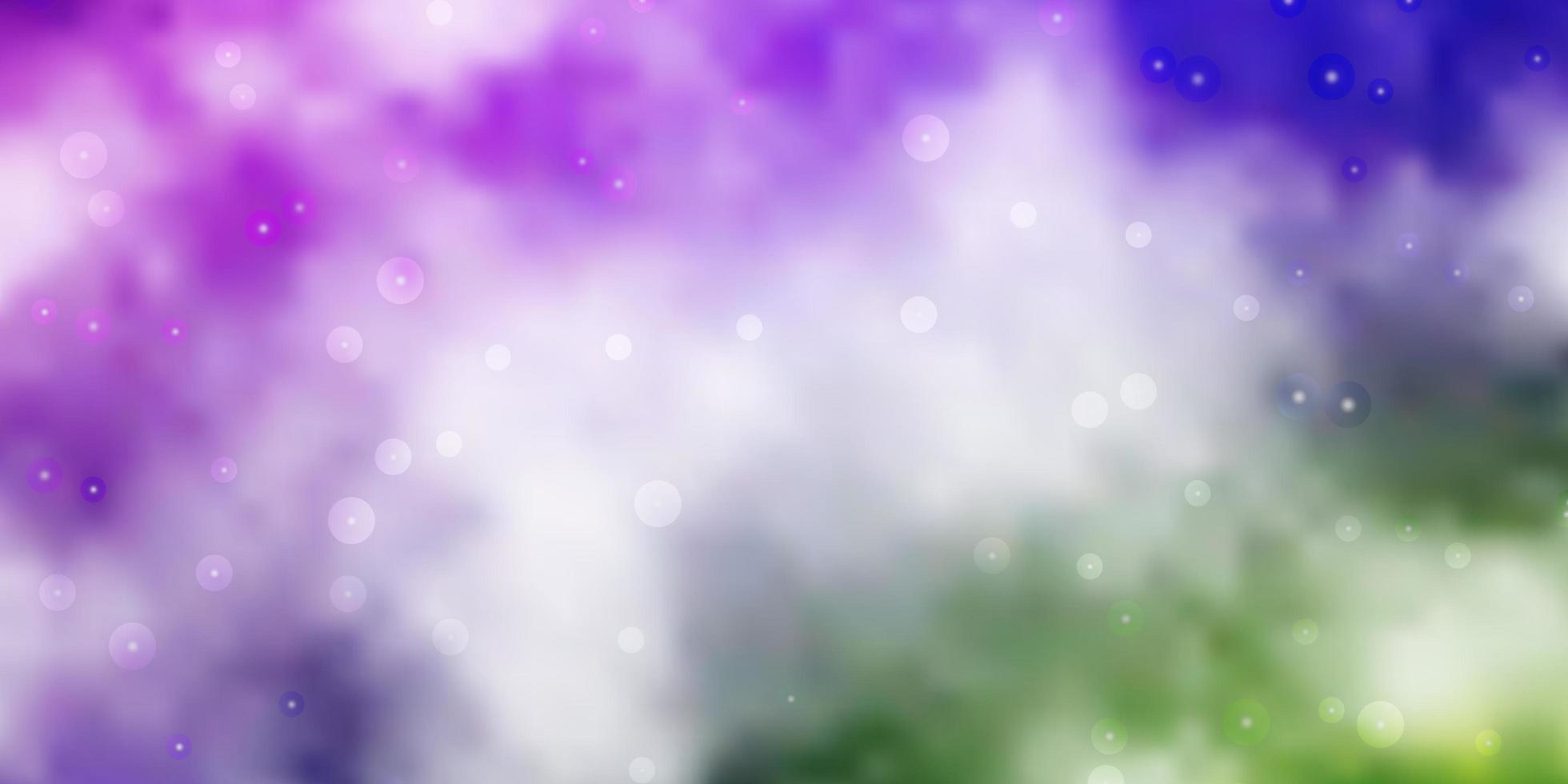 lichtroze, groene vectorachtergrond met kleine en grote sterren. vector