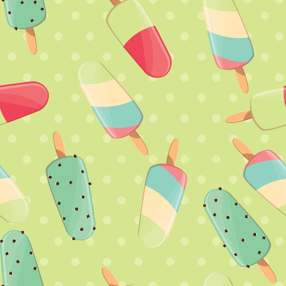 ijs naadloze patroon, kleurrijke zomer achtergrond, heerlijke zoete lekkernijen vector