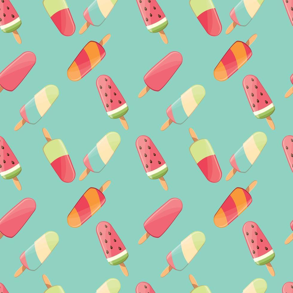 ijs naadloze patroon, kleurrijke zomer achtergrond, heerlijke zoete lekkernijen, vector