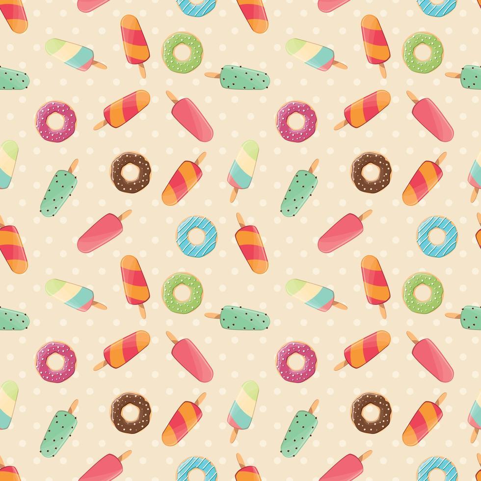 naadloze patroon met ijs en kleurrijke smakelijke donuts vector