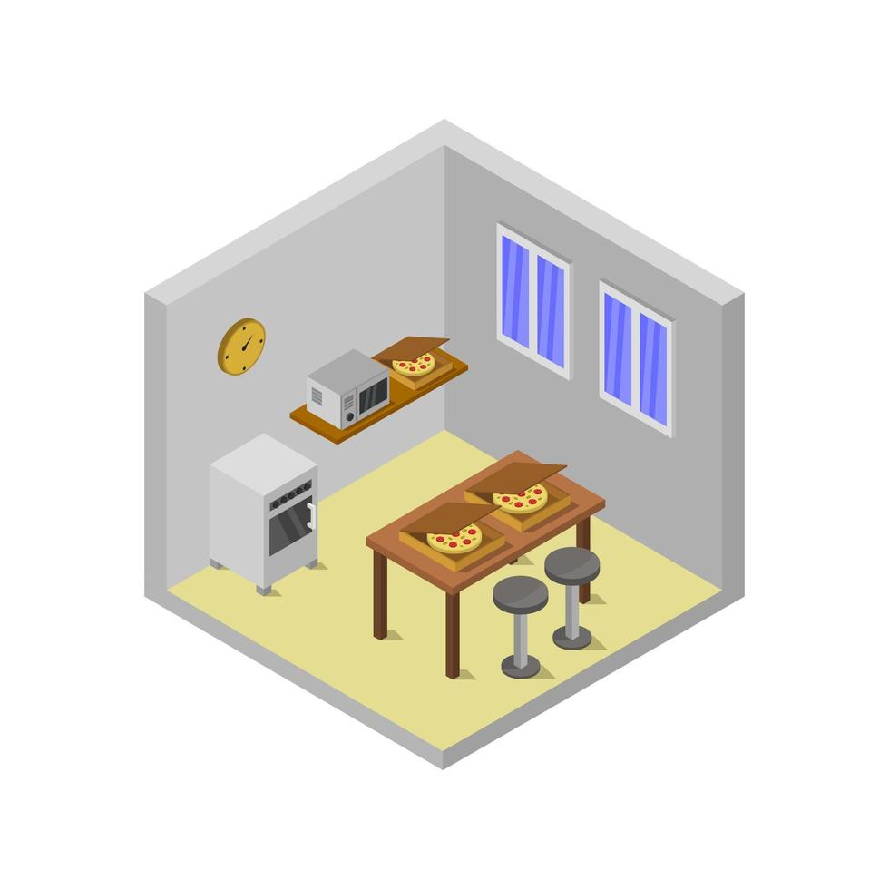 isometrische keukenruimte geïllustreerd op witte achtergrond vector
