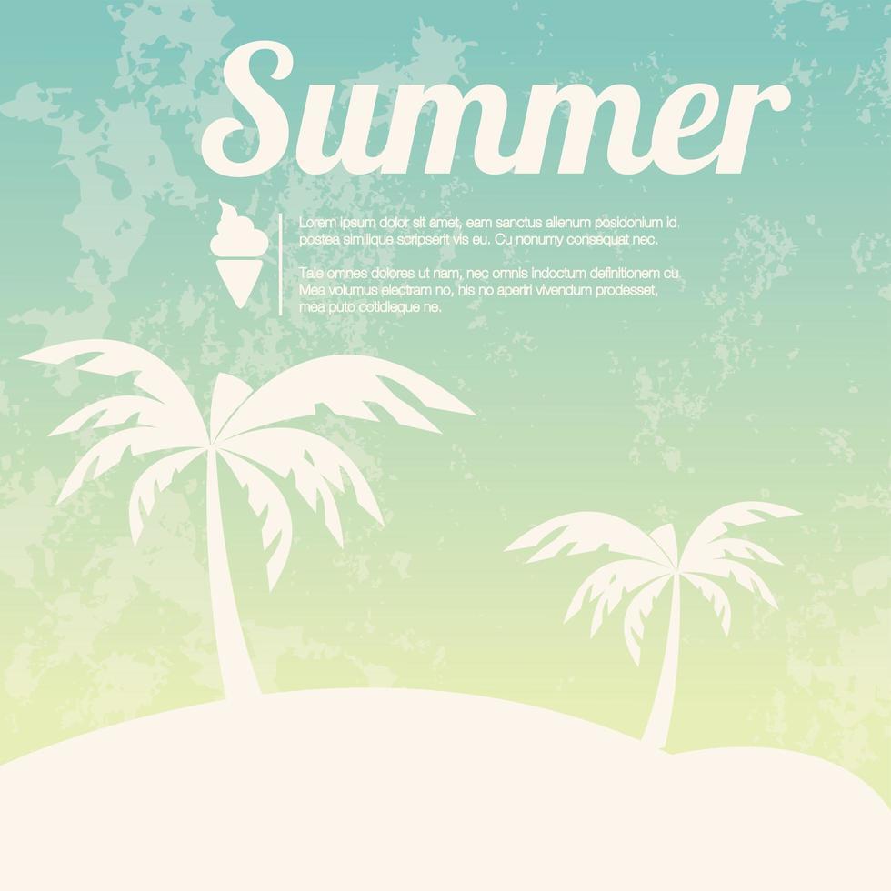 zomervakantie kaart met palmbomen en slippers vector