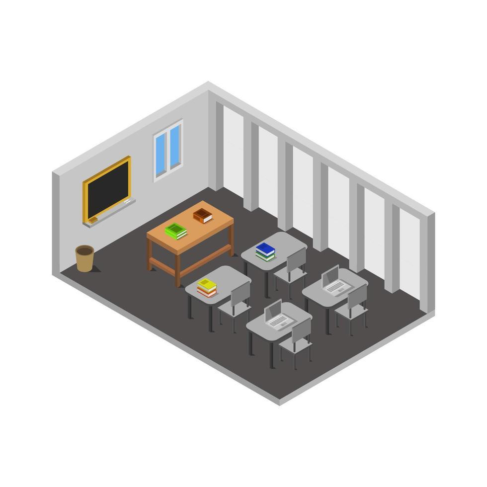 isometrische schoolkamer geïllustreerd op witte achtergrond vector