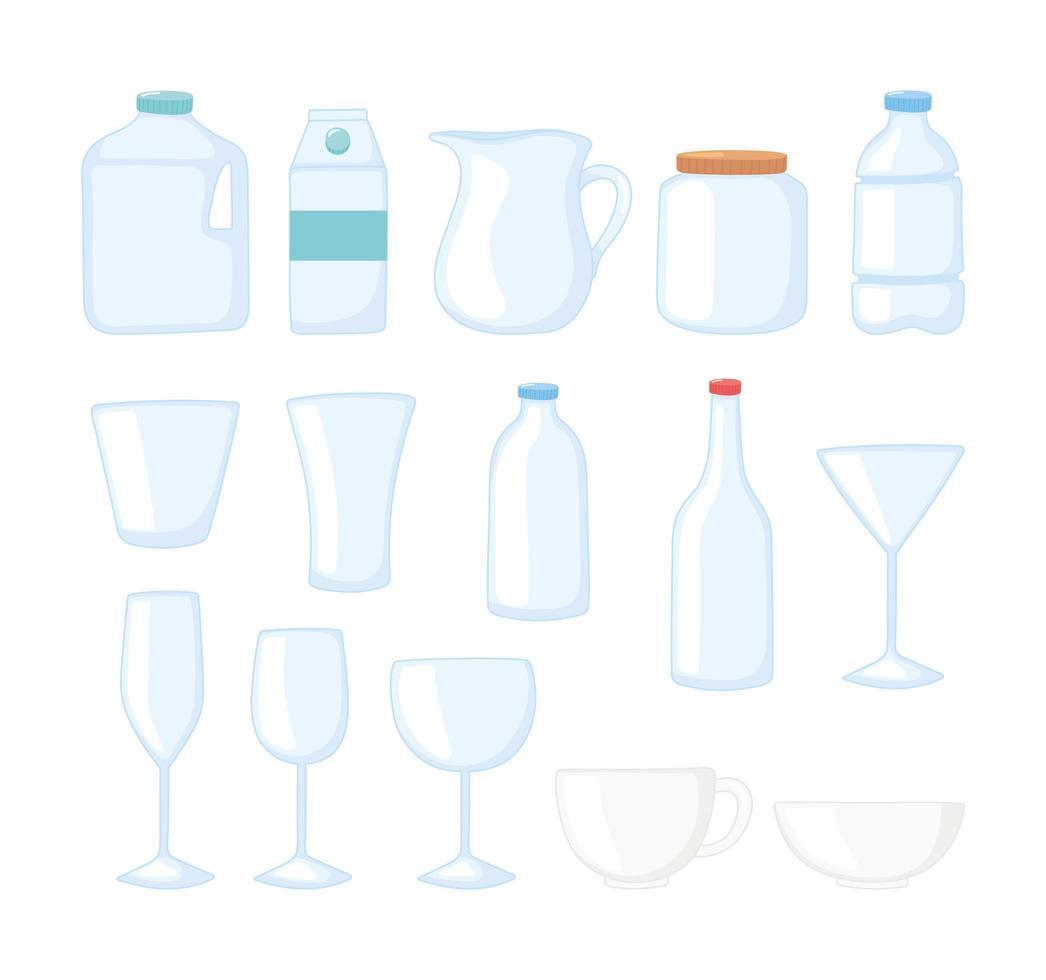plastic of glazen bekers flessen testmodellen wegwerp flesbekers pictogrammen instellen vector