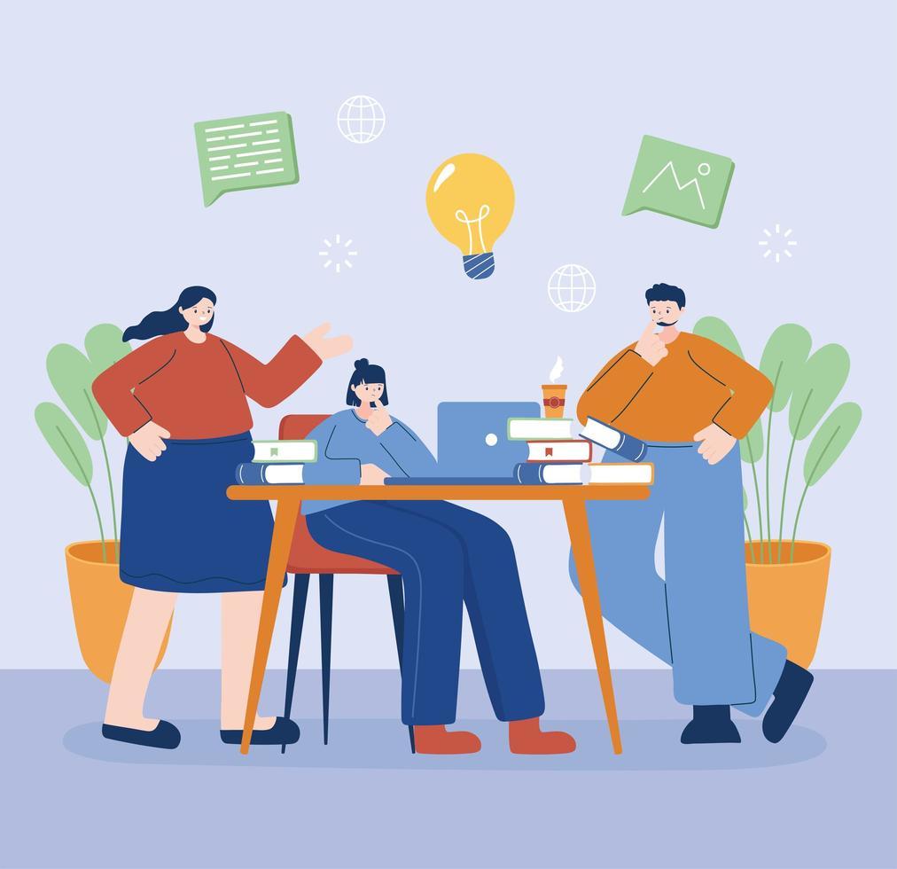 vrouwen en man met laptop op bureau vectorontwerp vector