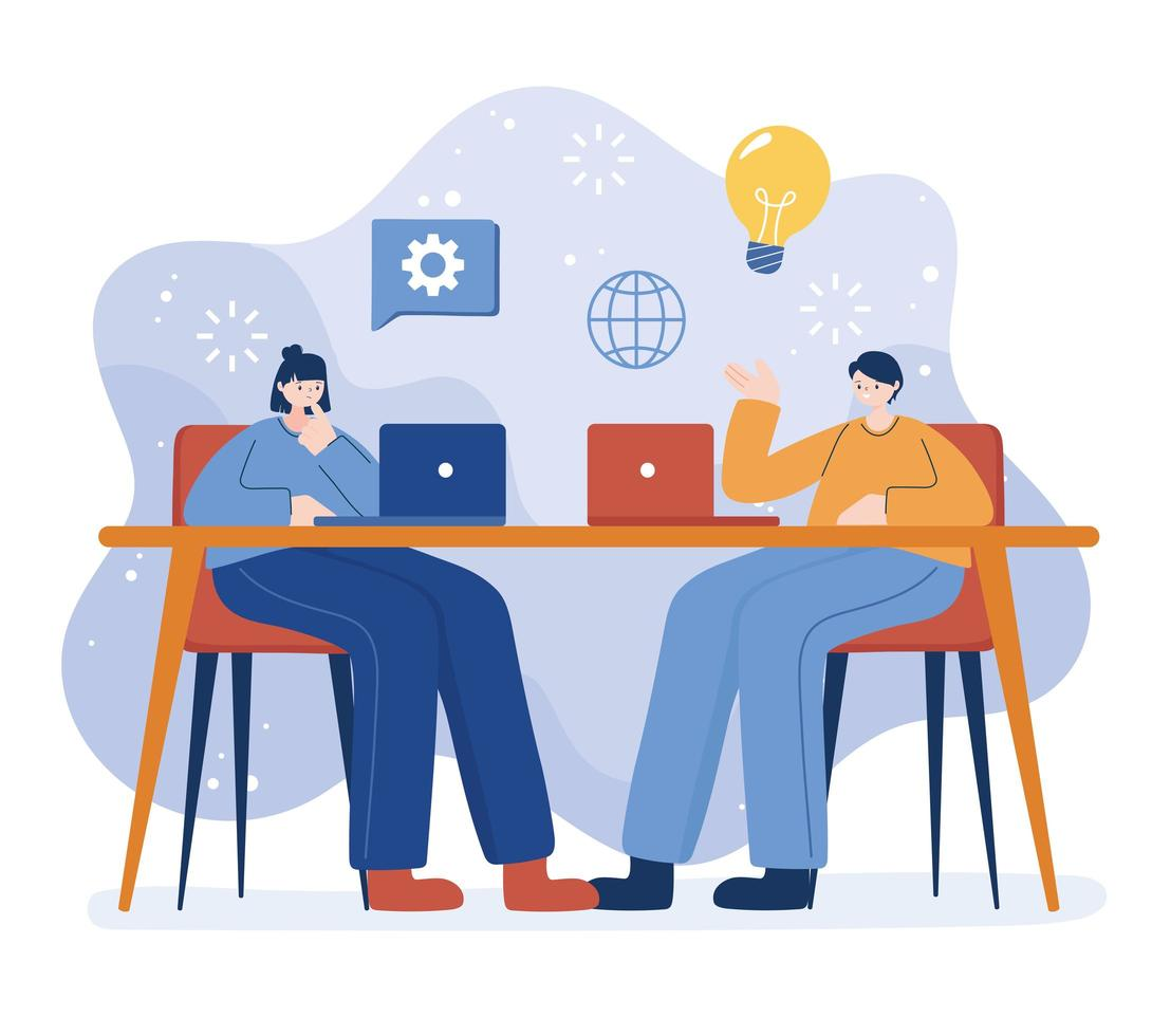 vrouw en man met laptop op bureau vector ontwerp