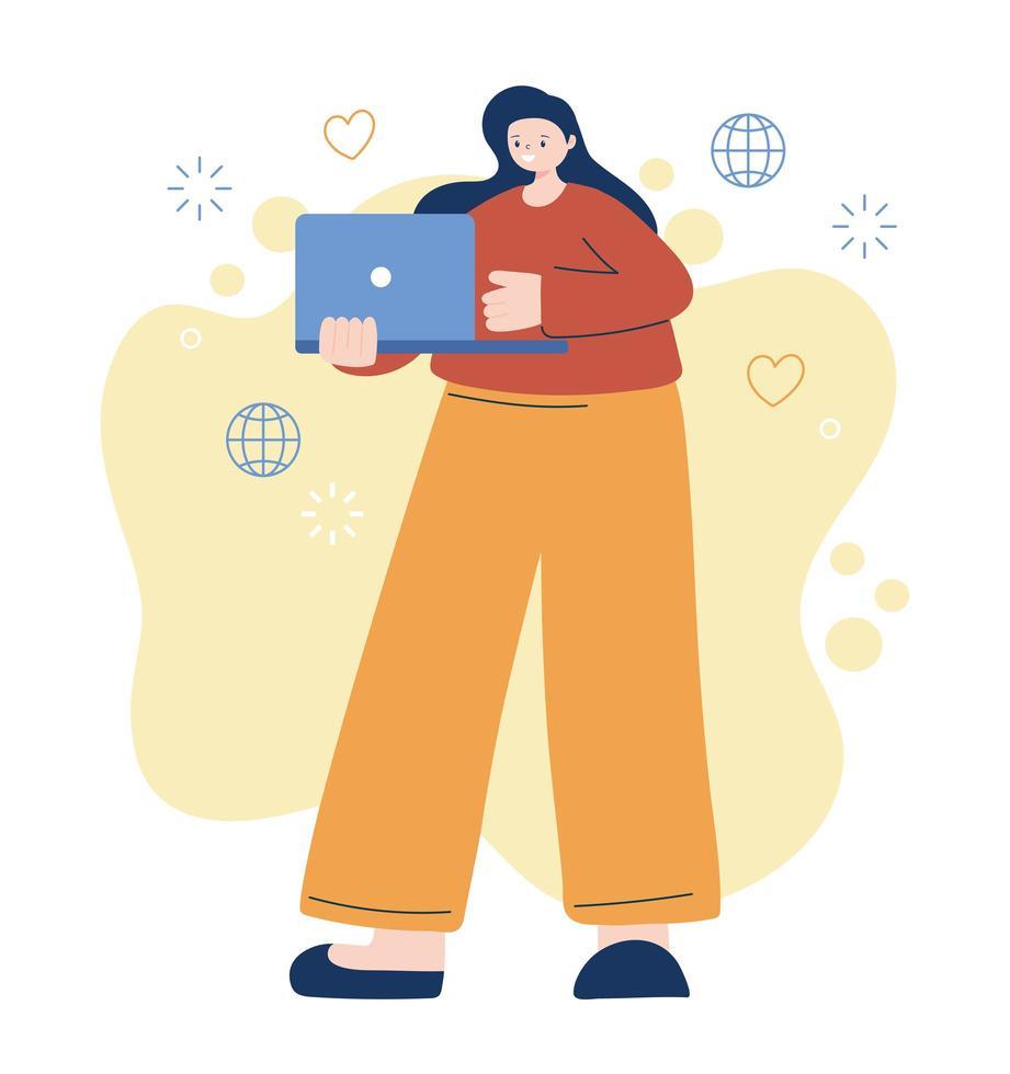 vrouw met laptop vector ontwerp