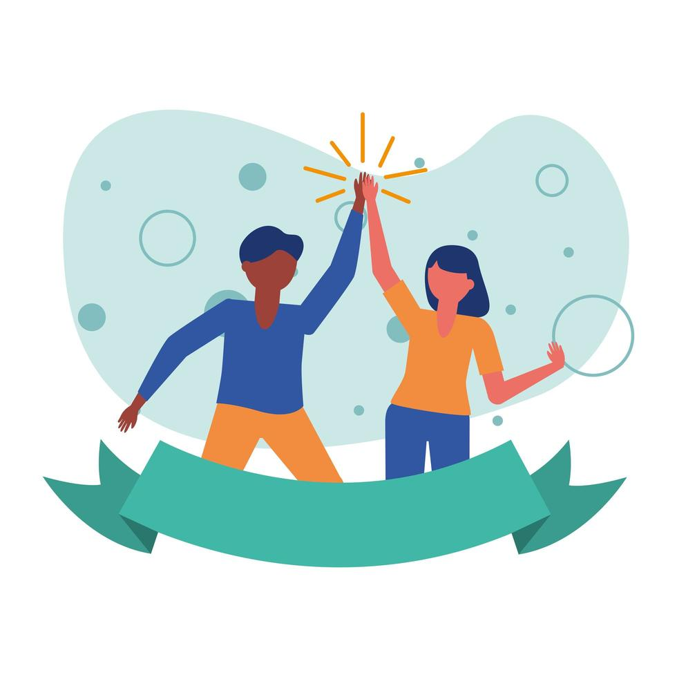 vrouw en man avatar vrienden met lint vector ontwerp