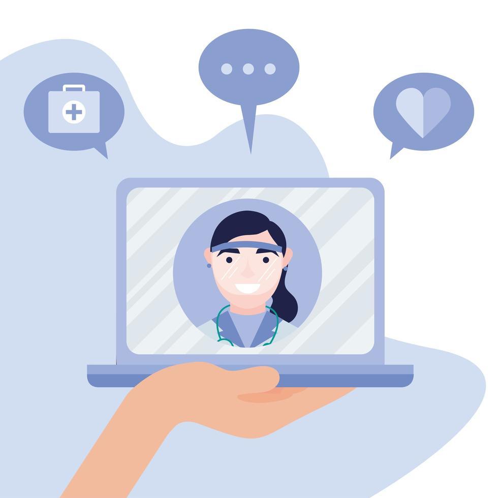 online vrouwelijke arts op laptop met pictogrammenset vector ontwerp